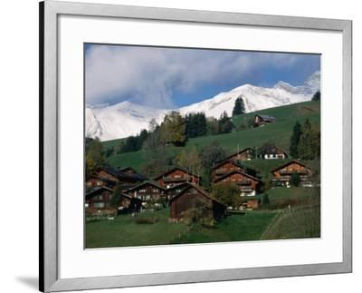 Wooden Chalets on Slope with Snow-Capped Peaks in the Background, Rougemont, Switzerland-Martin Moos-Framed Photographic Print