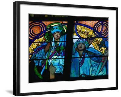 Stained-Glass Windows with Art Nouveau Mucha Designs in St. Vitus Cathedral, Prague, Czech Republic-Richard Nebesky-Framed Photographic Print