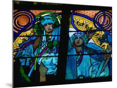 Stained-Glass Windows with Art Nouveau Mucha Designs in St. Vitus Cathedral, Prague, Czech Republic-Richard Nebesky-Mounted Photographic Print