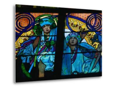 Stained-Glass Windows with Art Nouveau Mucha Designs in St. Vitus Cathedral, Prague, Czech Republic-Richard Nebesky-Metal Print