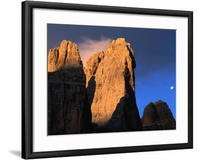 Moon Above Tre Cimo Di Lavaredo at Dawn, Dolomiti Di Sesto Natural Park, Trentino-Alto-Adige, Italy-Grant Dixon-Framed Photographic Print