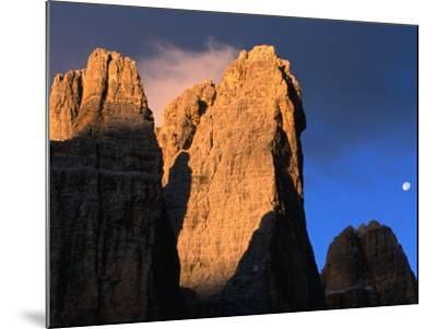 Moon Above Tre Cimo Di Lavaredo at Dawn, Dolomiti Di Sesto Natural Park, Trentino-Alto-Adige, Italy-Grant Dixon-Mounted Photographic Print