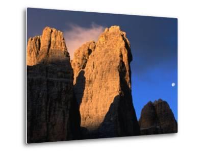 Moon Above Tre Cimo Di Lavaredo at Dawn, Dolomiti Di Sesto Natural Park, Trentino-Alto-Adige, Italy-Grant Dixon-Metal Print