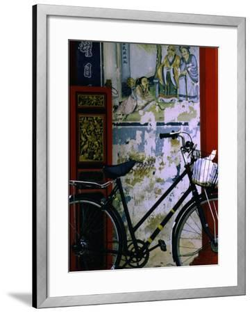 Bicycle Against Muralled Wall of Chinese Temple at Marudi, Sarawak, Malaysia-Mark Daffey-Framed Photographic Print