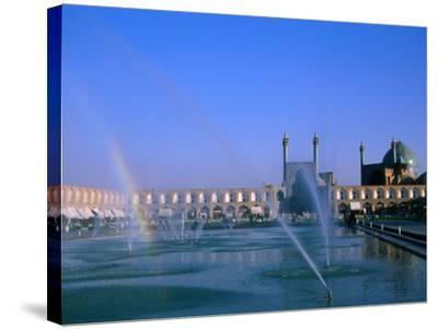 Fountain with Rainbow Outside Masjed-E Emam, Esfahan, Iran-Martin Moos-Stretched Canvas Print