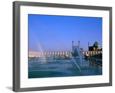 Fountain with Rainbow Outside Masjed-E Emam, Esfahan, Iran-Martin Moos-Framed Photographic Print