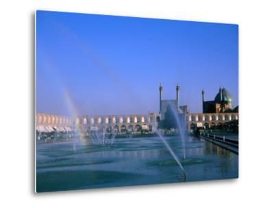 Fountain with Rainbow Outside Masjed-E Emam, Esfahan, Iran-Martin Moos-Metal Print