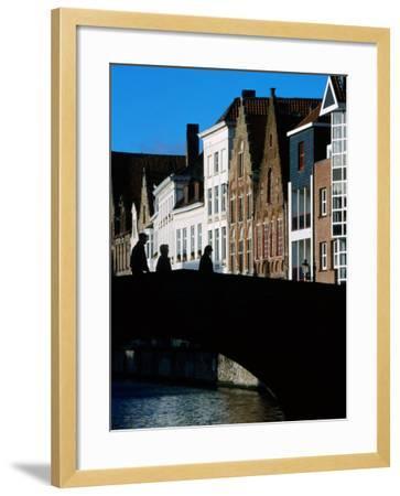 Pedestrians Crossing Canal and Houses Near Jan Van Eyckplein, Bruges, Belgium-Martin Moos-Framed Photographic Print