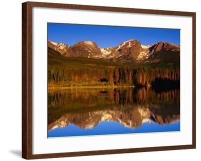 Sprague Lake Provides a Near-Perfect Mirror for the Surrounding Mountains, Colorado, USA-Gareth McCormack-Framed Photographic Print