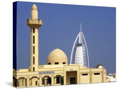 Mosque Beside Burj Al Arab Hotel, Dubai, United Arab Emirates-Holger Leue-Stretched Canvas Print