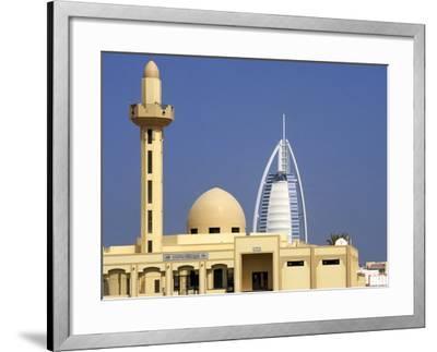 Mosque Beside Burj Al Arab Hotel, Dubai, United Arab Emirates-Holger Leue-Framed Photographic Print