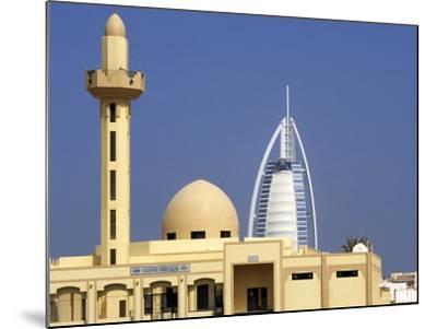Mosque Beside Burj Al Arab Hotel, Dubai, United Arab Emirates-Holger Leue-Mounted Photographic Print