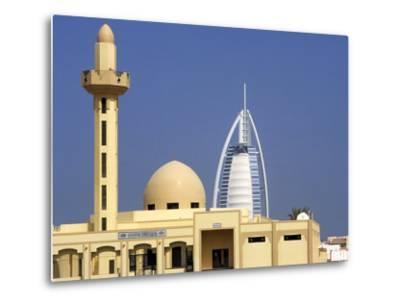 Mosque Beside Burj Al Arab Hotel, Dubai, United Arab Emirates-Holger Leue-Metal Print