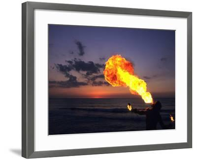 Fireeater at Sunset, Jamaica-Holger Leue-Framed Photographic Print