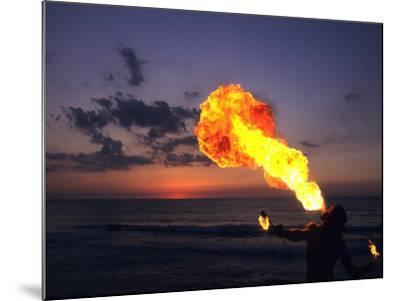 Fireeater at Sunset, Jamaica-Holger Leue-Mounted Photographic Print