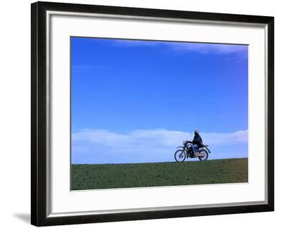 Local Farmer Riding Motorbike Across Paddock, Seymour, Australia-Will Salter-Framed Photographic Print