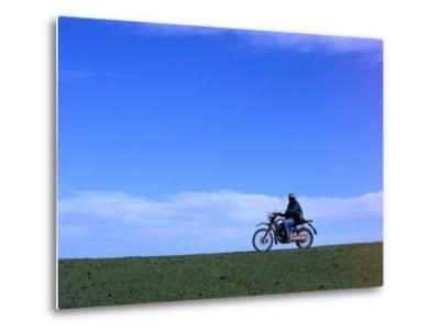 Local Farmer Riding Motorbike Across Paddock, Seymour, Australia-Will Salter-Metal Print