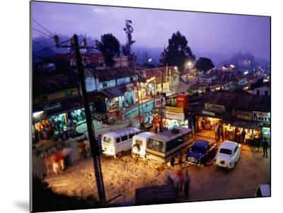 Shops and Stalls at Dusk, Kodaikanal, Tamil Nadu, India-Greg Elms-Mounted Photographic Print