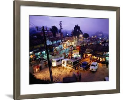 Shops and Stalls at Dusk, Kodaikanal, Tamil Nadu, India-Greg Elms-Framed Photographic Print