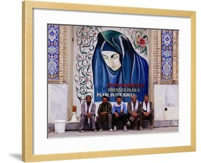 A Group of Men Sitting in Front of a Mural in the Courtyard of the Tomb of Prophet Daniel, Iran-Patrick Syder-Framed Photographic Print