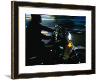 Motorbike on Main Street at Bike Week, Daytona Beach, Florida, USA-Lawrence Worcester-Framed Photographic Print