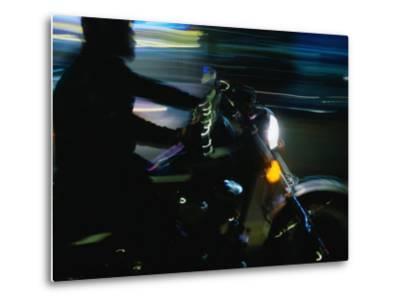 Motorbike on Main Street at Bike Week, Daytona Beach, Florida, USA-Lawrence Worcester-Metal Print
