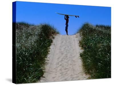 Surfer Carrying Board on Dunes at Long Point, Martha's Vineyard, Massachusetts, USA-Lou Jones-Stretched Canvas Print