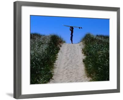 Surfer Carrying Board on Dunes at Long Point, Martha's Vineyard, Massachusetts, USA-Lou Jones-Framed Photographic Print