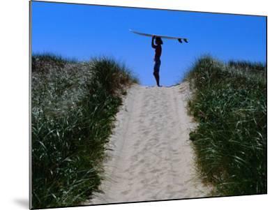 Surfer Carrying Board on Dunes at Long Point, Martha's Vineyard, Massachusetts, USA-Lou Jones-Mounted Photographic Print
