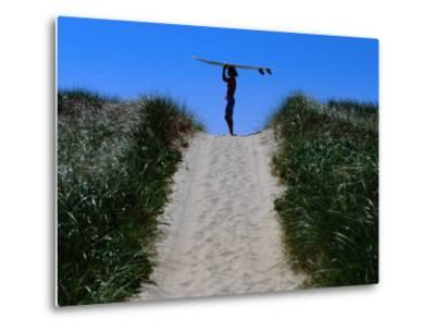 Surfer Carrying Board on Dunes at Long Point, Martha's Vineyard, Massachusetts, USA-Lou Jones-Metal Print