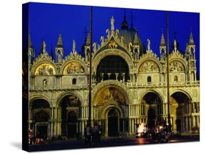 Night View of the Basilica Di San Marco, Venice, Veneto, Italy-Glenn Beanland-Stretched Canvas Print
