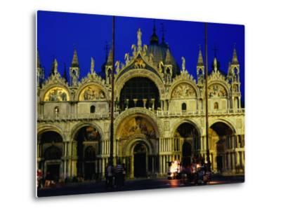 Night View of the Basilica Di San Marco, Venice, Veneto, Italy-Glenn Beanland-Metal Print