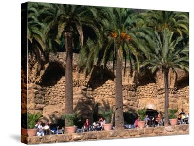 Outdoor Cafe Beneath Palm Trees in Parc Guell, Barcelona, Spain-Anders Blomqvist-Stretched Canvas Print