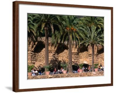 Outdoor Cafe Beneath Palm Trees in Parc Guell, Barcelona, Spain-Anders Blomqvist-Framed Photographic Print