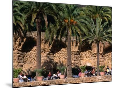 Outdoor Cafe Beneath Palm Trees in Parc Guell, Barcelona, Spain-Anders Blomqvist-Mounted Photographic Print