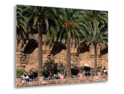 Outdoor Cafe Beneath Palm Trees in Parc Guell, Barcelona, Spain-Anders Blomqvist-Metal Print