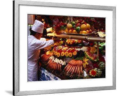 Chef Creating Restaurant Display, Brussels, Belgium-Rick Gerharter-Framed Photographic Print
