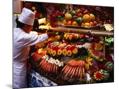 Chef Creating Restaurant Display, Brussels, Belgium-Rick Gerharter-Mounted Photographic Print