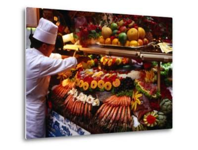 Chef Creating Restaurant Display, Brussels, Belgium-Rick Gerharter-Metal Print