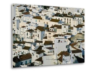 Whitewashed Village Houses of Casares, Clinging to Steep Hillsides, Malaga, Andalucia, Spain-David Tomlinson-Metal Print