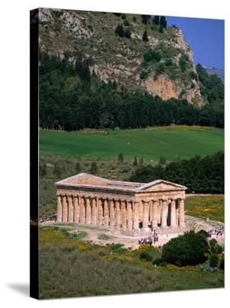 Ancient Doric Temple in Front of Mountain, Segesta, Sicily, Italy-Stephen Saks-Stretched Canvas Print