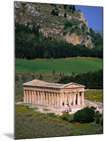 Ancient Doric Temple in Front of Mountain, Segesta, Sicily, Italy-Stephen Saks-Mounted Photographic Print