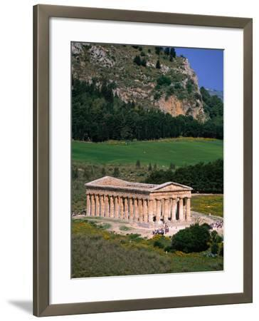 Ancient Doric Temple in Front of Mountain, Segesta, Sicily, Italy-Stephen Saks-Framed Photographic Print