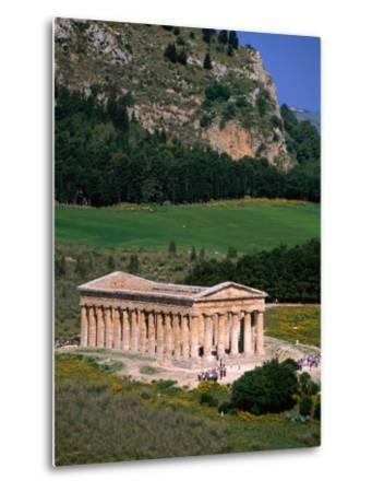 Ancient Doric Temple in Front of Mountain, Segesta, Sicily, Italy-Stephen Saks-Metal Print