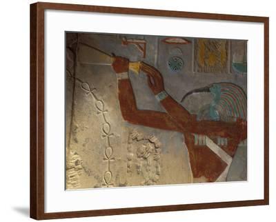 God Thoth Purifying Hetsheput at the Karnak Temple, Egypt-Claudia Adams-Framed Photographic Print