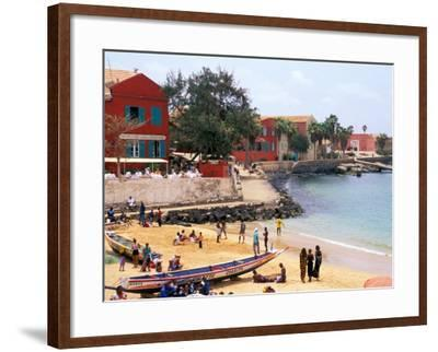 Boats and Beachgoers on the Beaches of Dakar, Senegal-Janis Miglavs-Framed Photographic Print