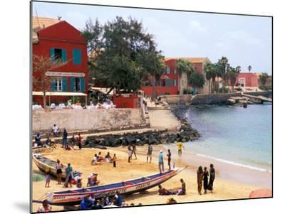 Boats and Beachgoers on the Beaches of Dakar, Senegal-Janis Miglavs-Mounted Photographic Print