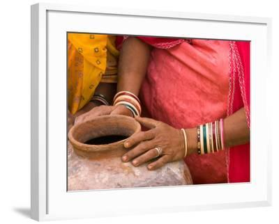 Woman's Hands on a Pottery Jug for Carrying Water, Thar Desert, Jaisalmer, Rajasthan, India-Philip Kramer-Framed Photographic Print