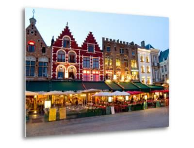 Cafes in Marketplace in Downtown Bruges, Belgium-Bill Bachmann-Metal Print