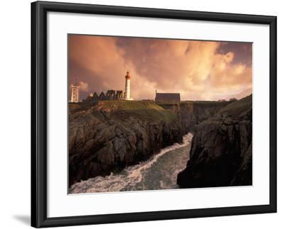 Pointe De St. Mathieu Lighthouse at Dawn, Brittany, France-Walter Bibikow-Framed Photographic Print